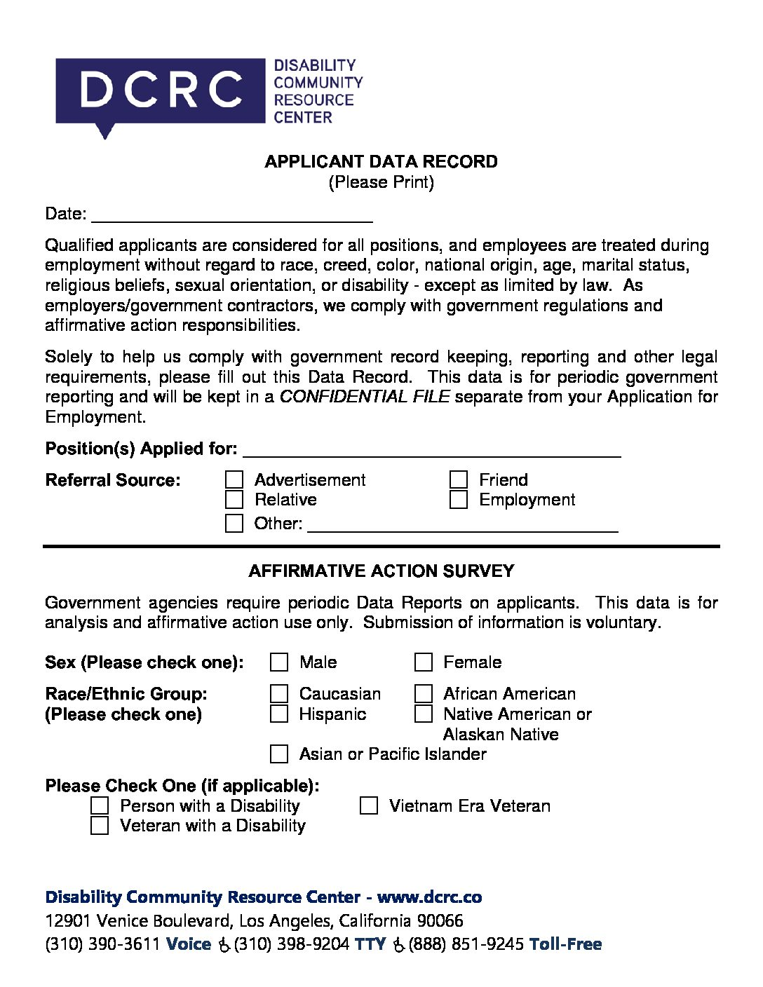 2018 dcrc applicant data record disability community resource center